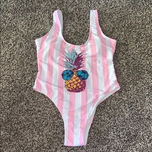 Pineapple/Pink Striped One Piece Womans Swimsuit L